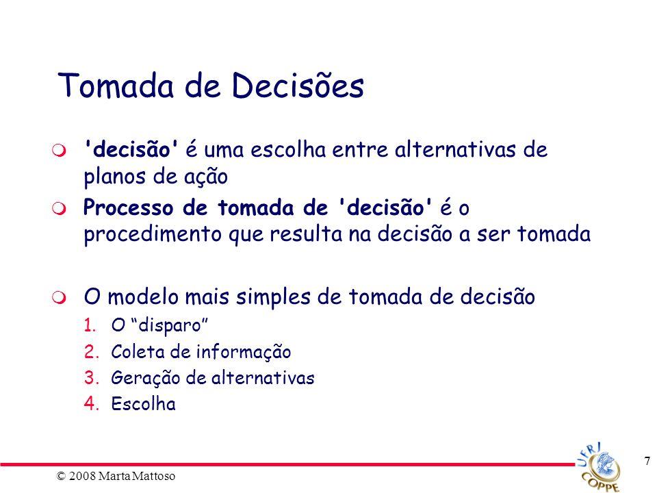 ECI Tomada de Decisões. decisão é uma escolha entre alternativas de planos de ação.