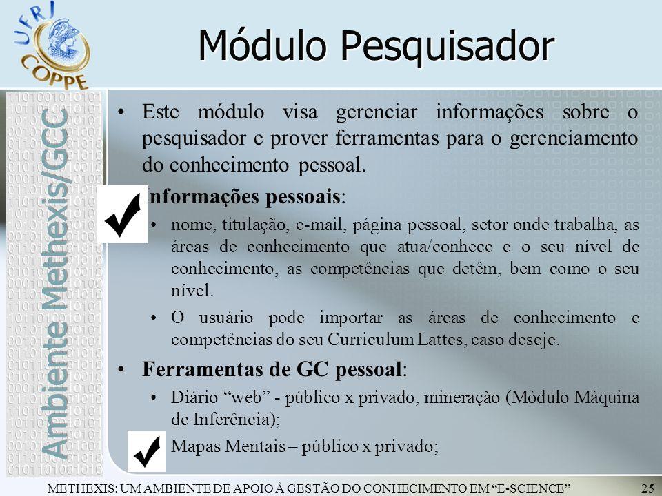 Módulo Pesquisador Ambiente Methexis/GCC