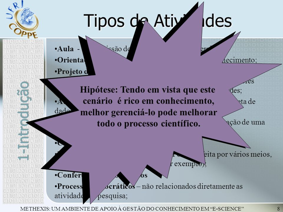 Tipos de Atividades 1-Introdução Hipótese: Tendo em vista que este