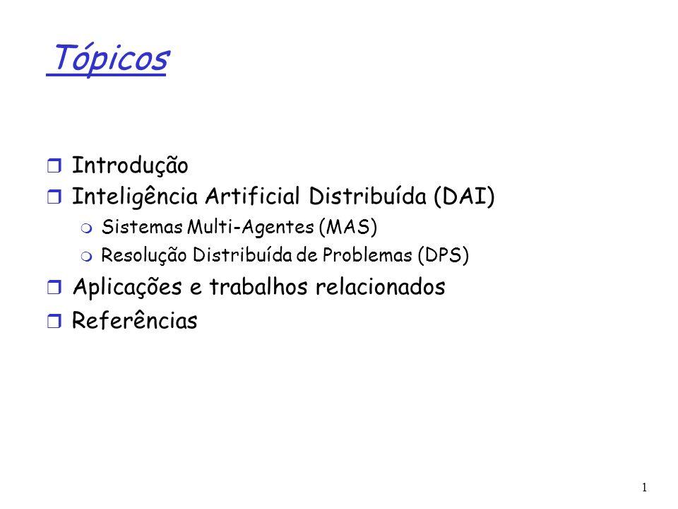 Tópicos Introdução Inteligência Artificial Distribuída (DAI)