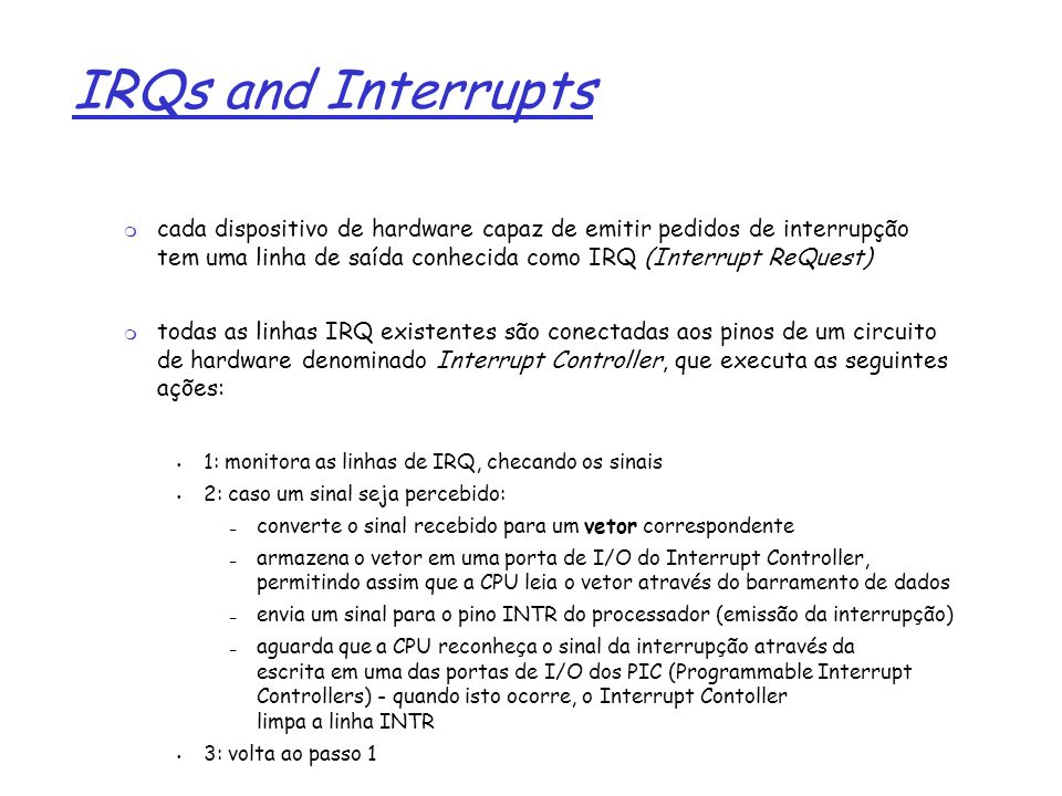 IRQs and Interrupts