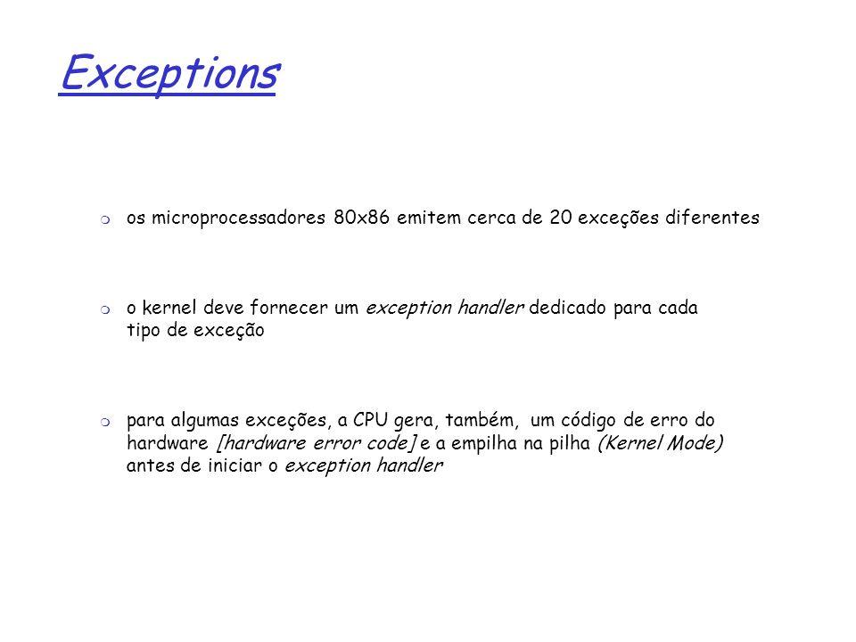 Exceptions os microprocessadores 80x86 emitem cerca de 20 exceções diferentes.