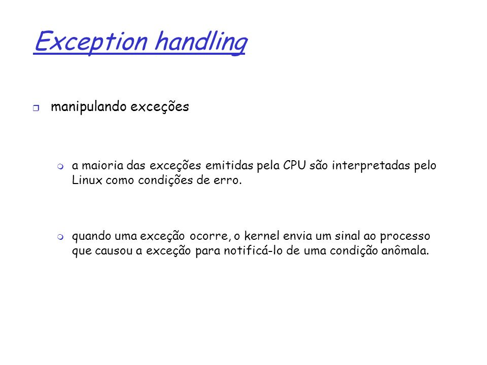 Exception handling manipulando exceções