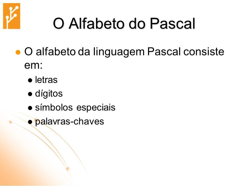 O Alfabeto do Pascal O alfabeto da linguagem Pascal consiste em: