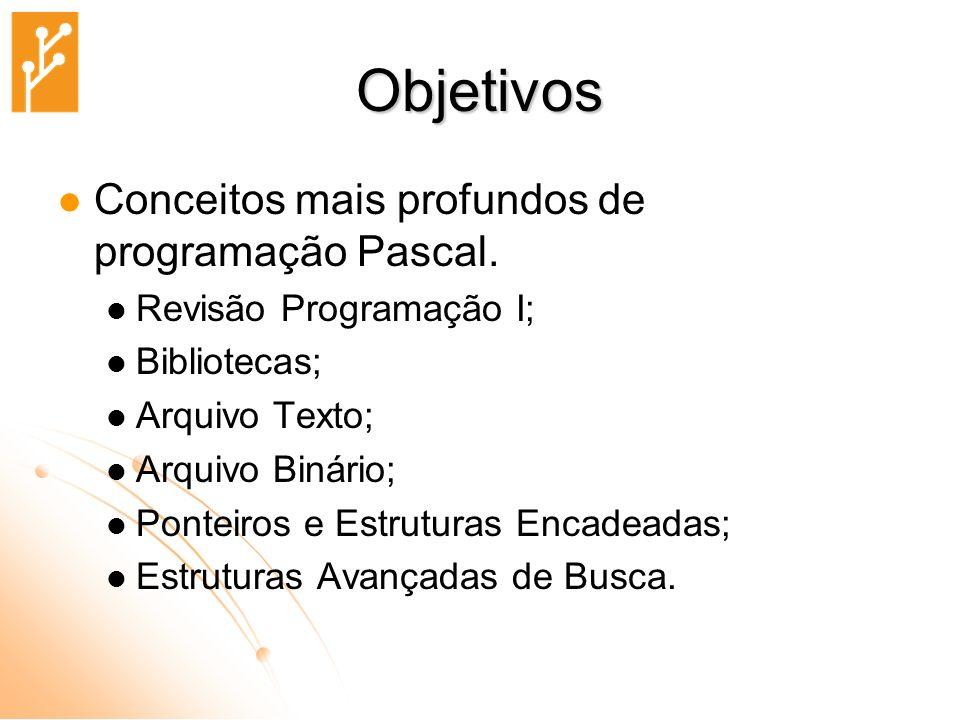 Objetivos Conceitos mais profundos de programação Pascal.