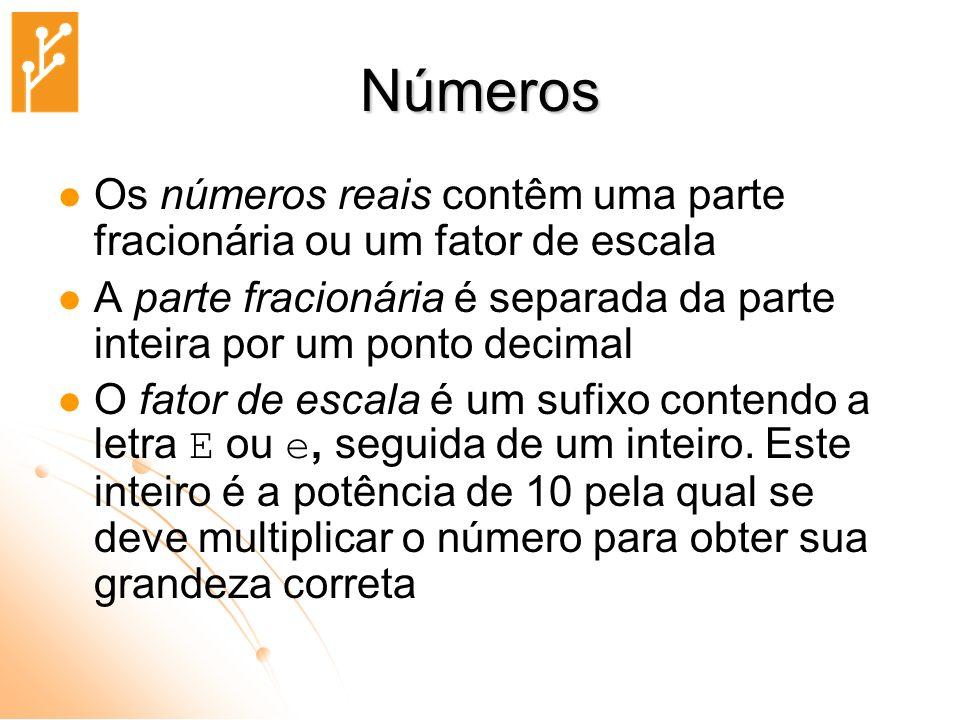 Números Os números reais contêm uma parte fracionária ou um fator de escala. A parte fracionária é separada da parte inteira por um ponto decimal.