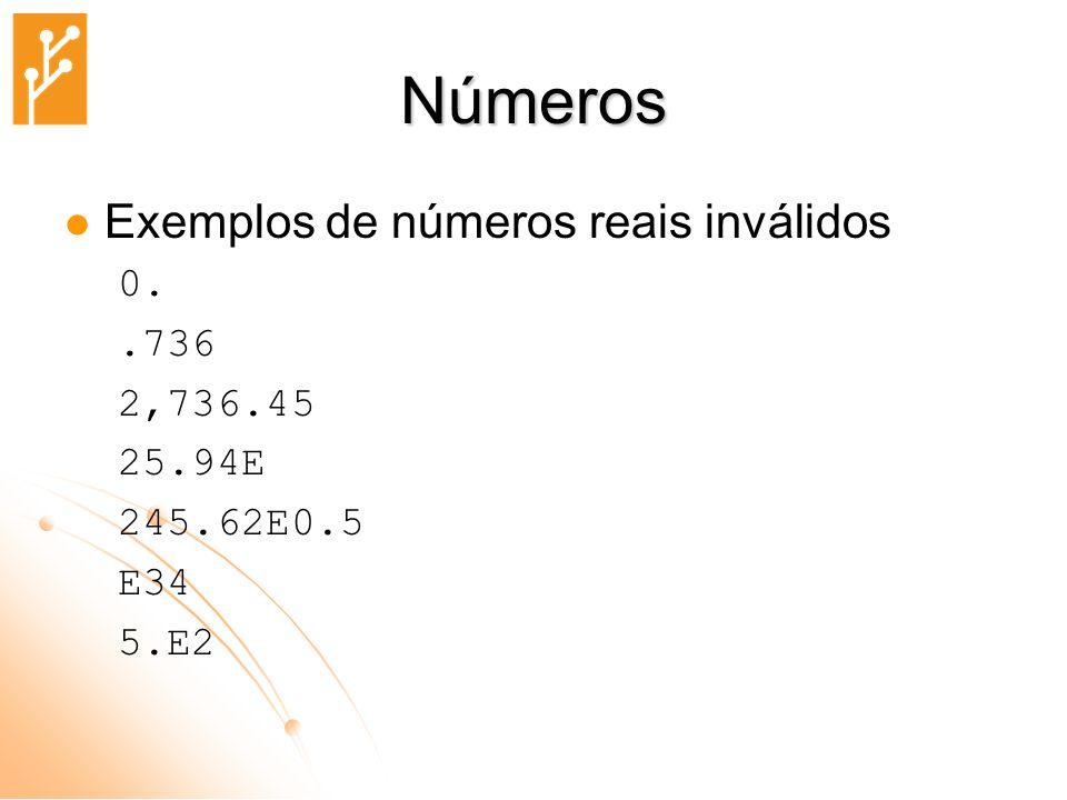 Números Exemplos de números reais inválidos 0. .736 2,736.45 25.94E