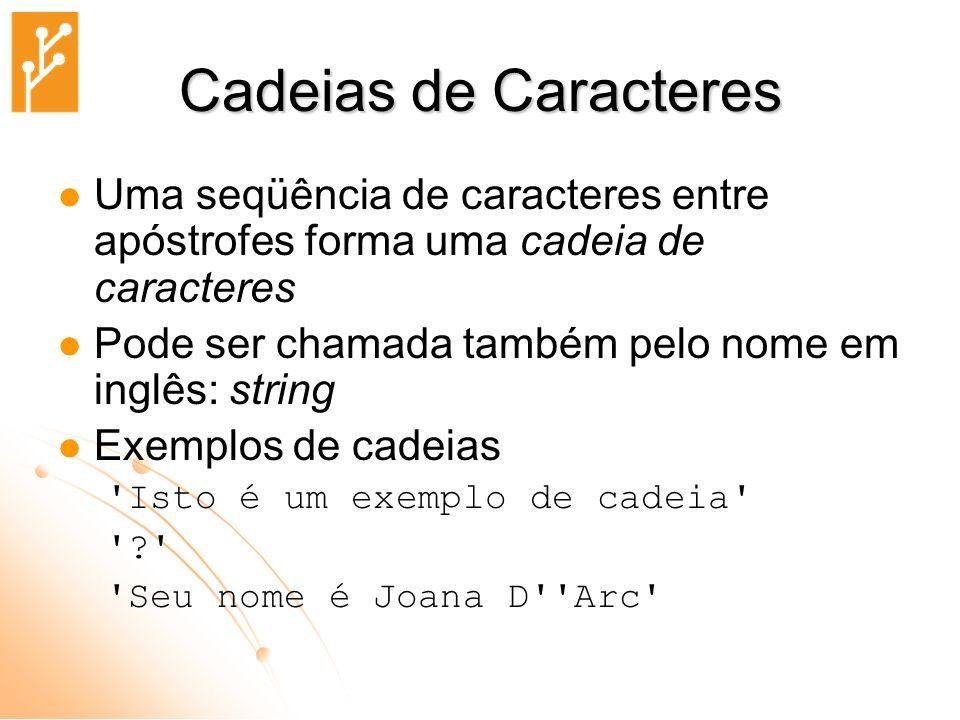 Cadeias de Caracteres Uma seqüência de caracteres entre apóstrofes forma uma cadeia de caracteres.