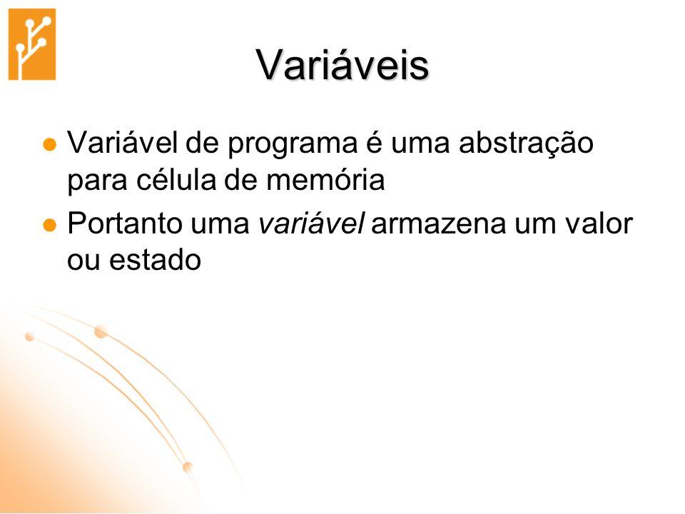 Variáveis Variável de programa é uma abstração para célula de memória
