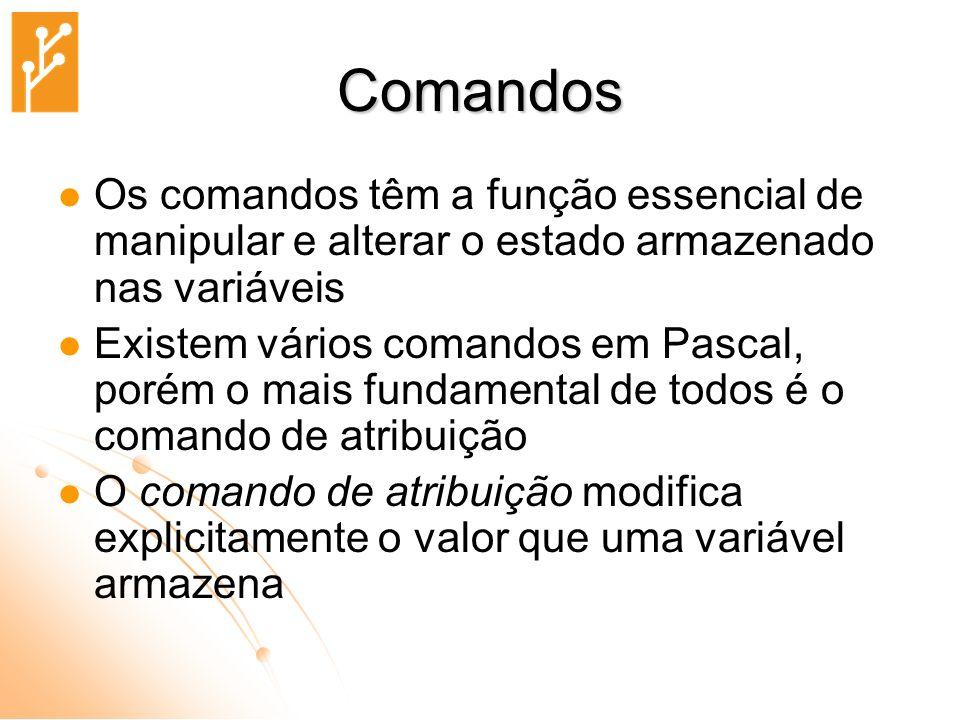 Comandos Os comandos têm a função essencial de manipular e alterar o estado armazenado nas variáveis.