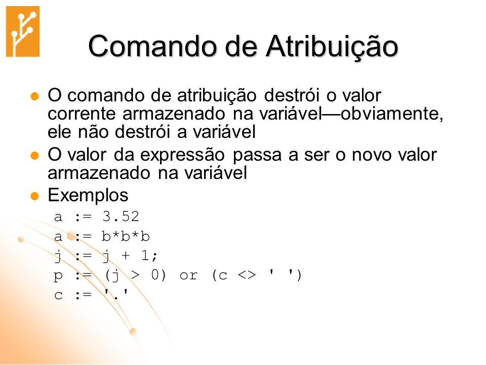 Comando de Atribuição O comando de atribuição destrói o valor corrente armazenado na variável—obviamente, ele não destrói a variável.
