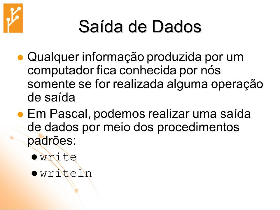 Saída de Dados Qualquer informação produzida por um computador fica conhecida por nós somente se for realizada alguma operação de saída.
