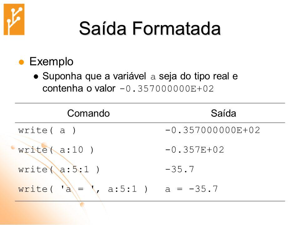 Saída Formatada Exemplo