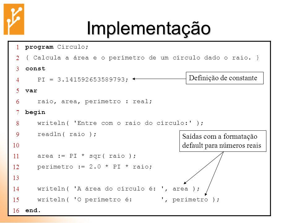 Implementação Definição de constante