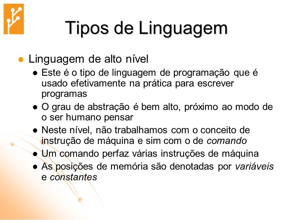 Tipos de Linguagem Linguagem de alto nível