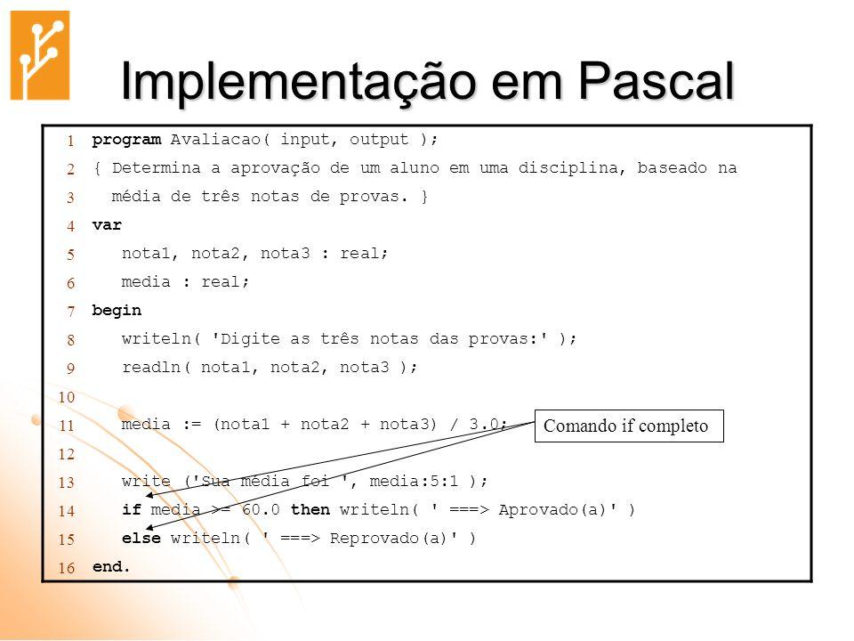 Implementação em Pascal