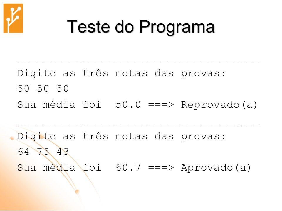Teste do Programa _____________________________________