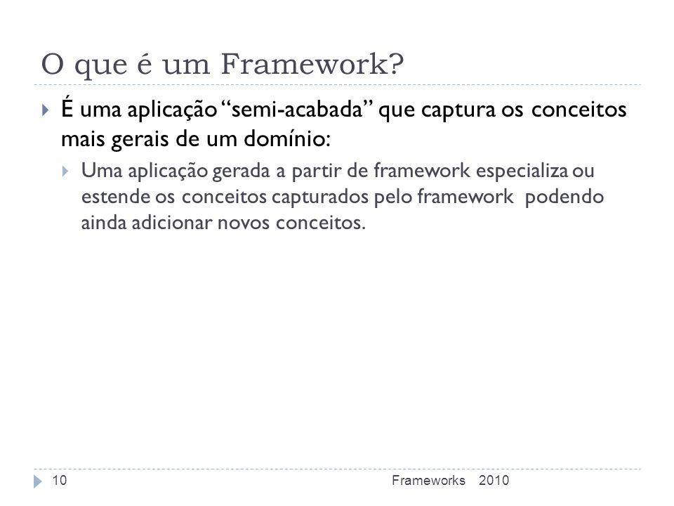 O que é um Framework É uma aplicação semi-acabada que captura os conceitos mais gerais de um domínio:
