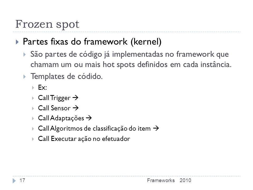 Frozen spot Partes fixas do framework (kernel)