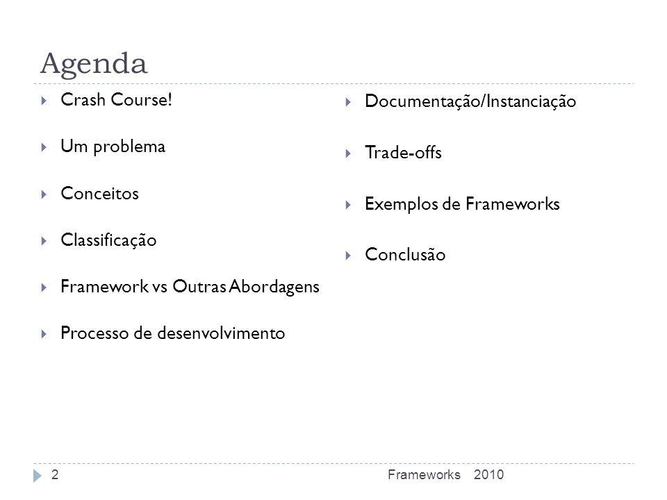 Agenda Crash Course! Documentação/Instanciação Um problema Trade-offs