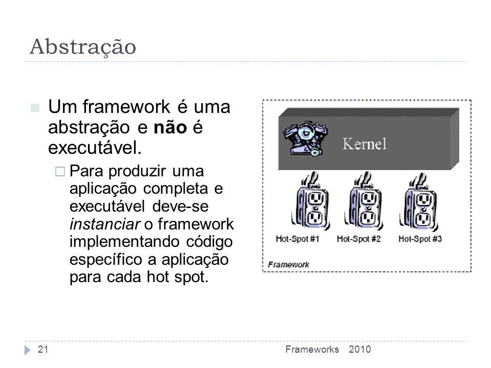 Abstração Um framework é uma abstração e não é executável.