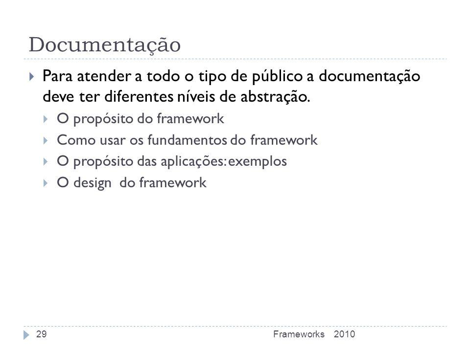 Documentação Para atender a todo o tipo de público a documentação deve ter diferentes níveis de abstração.