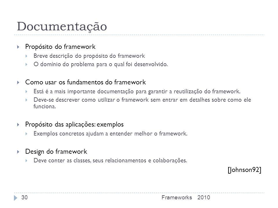 Documentação Propósito do framework