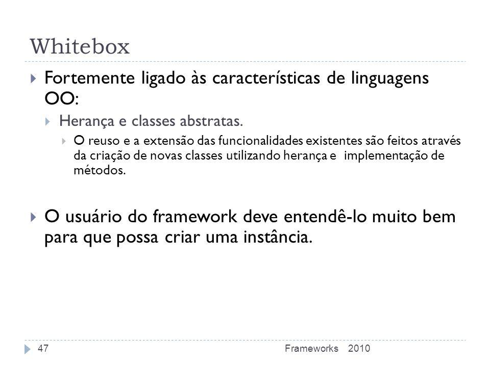 Whitebox Fortemente ligado às características de linguagens OO: