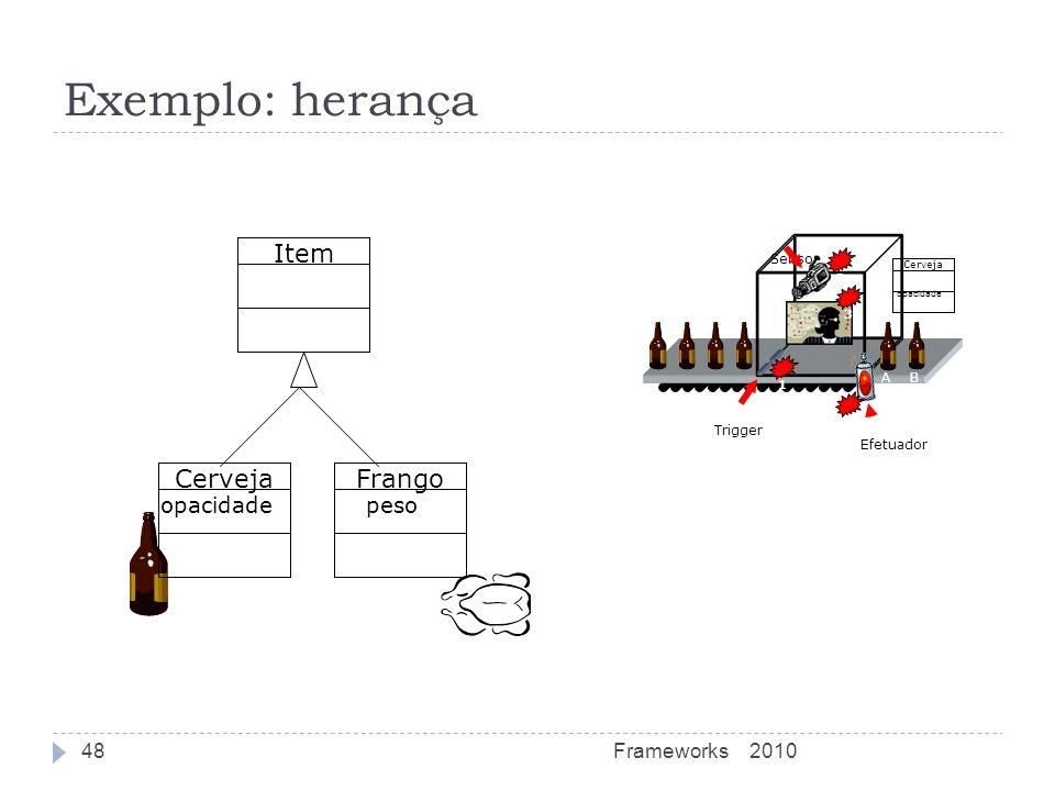 Exemplo: herança Item Cerveja Frango opacidade peso Frameworks 2010 A