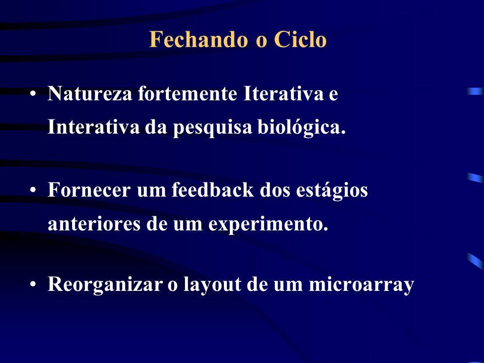 Fechando o CicloNatureza fortemente Iterativa e Interativa da pesquisa biológica. Fornecer um feedback dos estágios anteriores de um experimento.