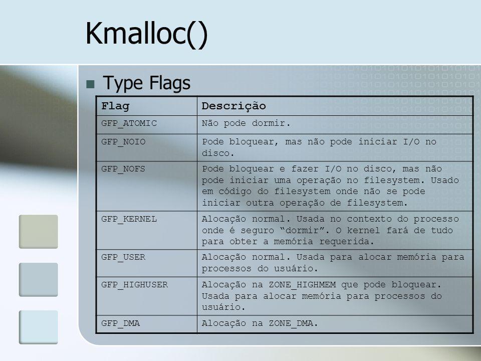 Kmalloc() Type Flags Flag Descrição GFP_ATOMIC Não pode dormir.