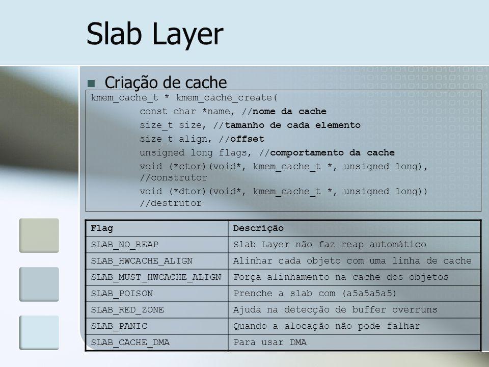 Slab Layer Criação de cache kmem_cache_t * kmem_cache_create(