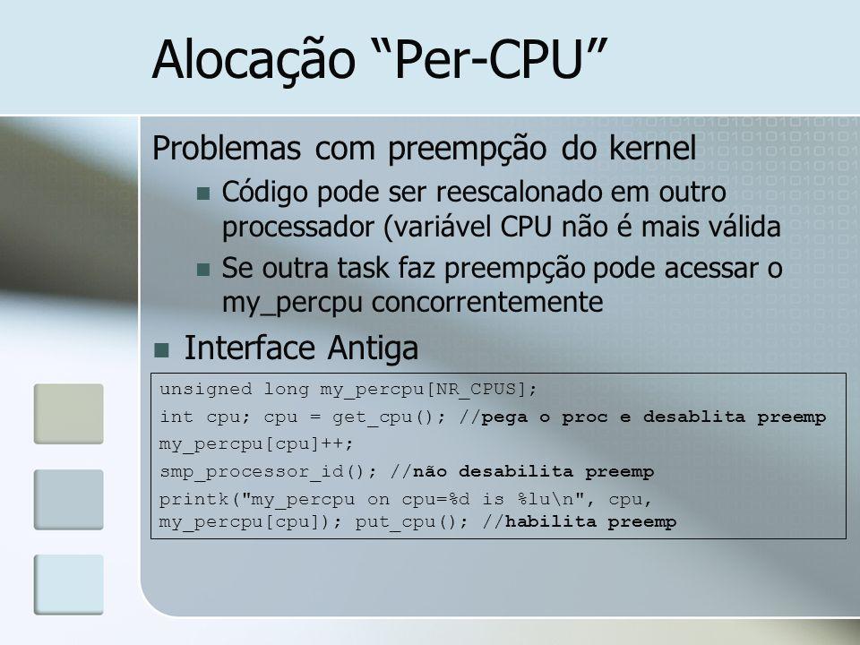 Alocação Per-CPU Problemas com preempção do kernel Interface Antiga