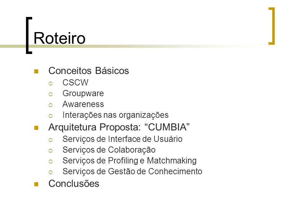Roteiro Conceitos Básicos Arquitetura Proposta: CUMBIA Conclusões