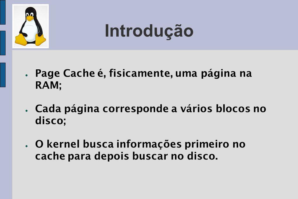 Introdução Page Cache é, fisicamente, uma página na RAM;
