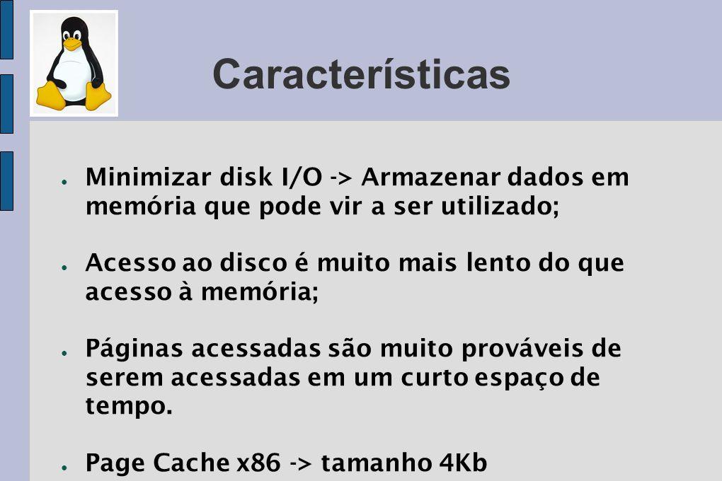 Características Minimizar disk I/O -> Armazenar dados em memória que pode vir a ser utilizado;