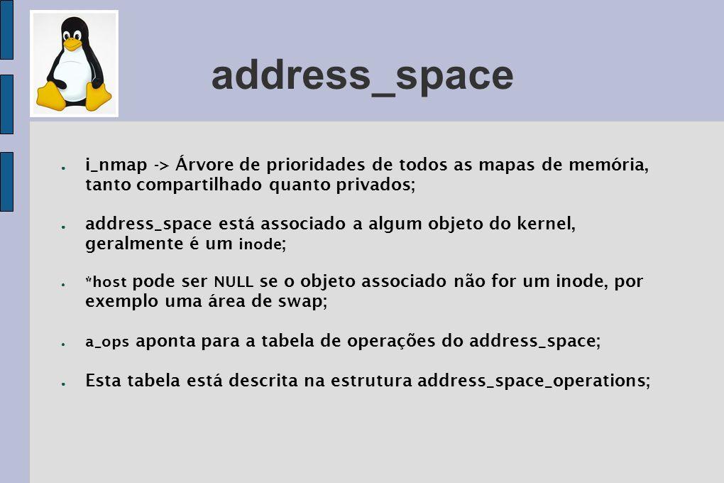 address_space i_nmap -> Árvore de prioridades de todos as mapas de memória, tanto compartilhado quanto privados;