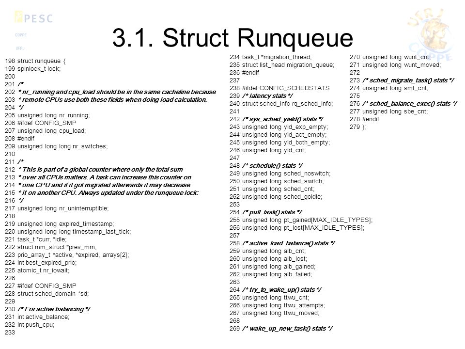 3.1. Struct Runqueue 234 task_t *migration_thread;
