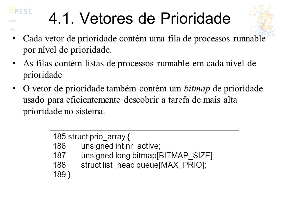 4.1. Vetores de Prioridade Cada vetor de prioridade contém uma fila de processos runnable por nível de prioridade.