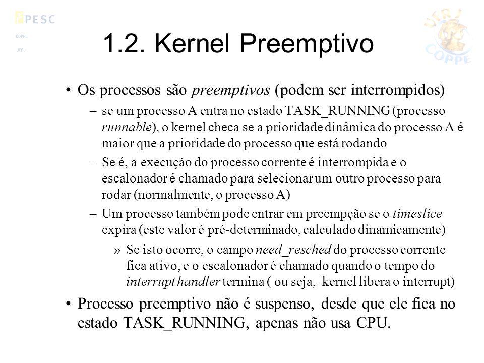 1.2. Kernel Preemptivo Os processos são preemptivos (podem ser interrompidos)