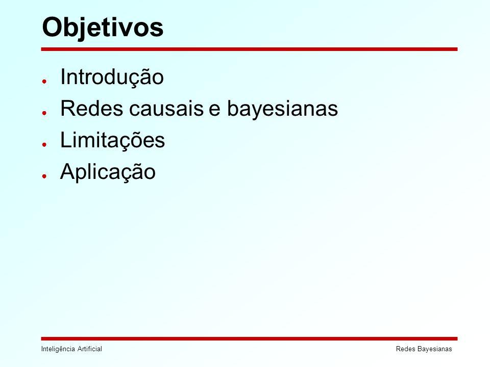 Objetivos Introdução Redes causais e bayesianas Limitações Aplicação