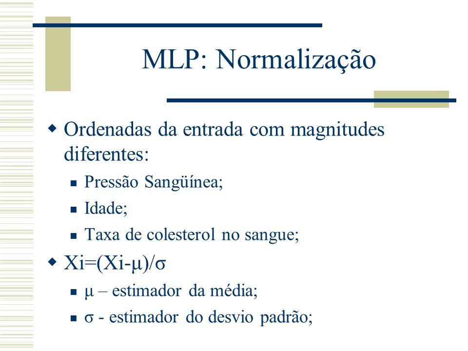 MLP: Normalização Ordenadas da entrada com magnitudes diferentes: