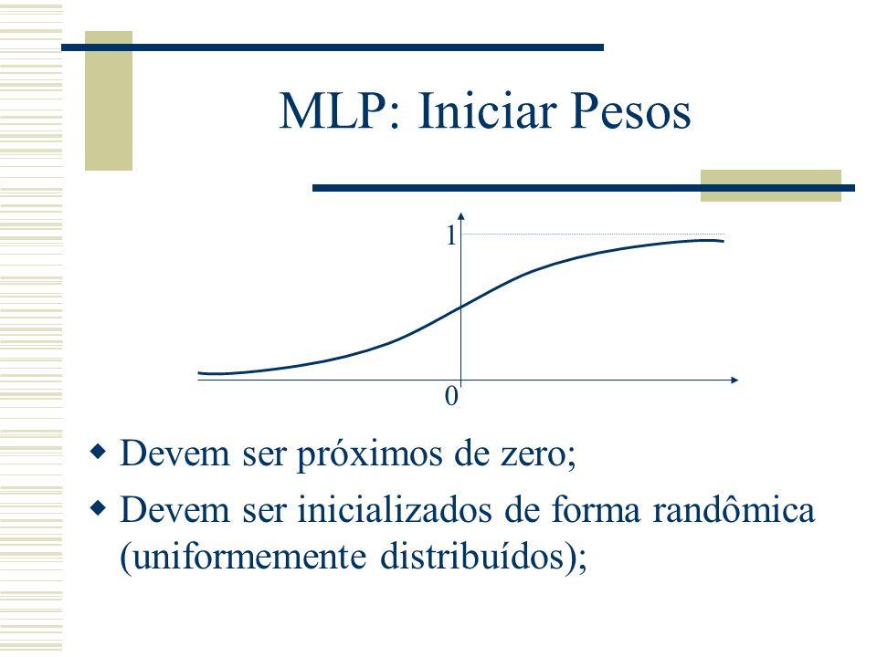 MLP: Iniciar Pesos Devem ser próximos de zero;