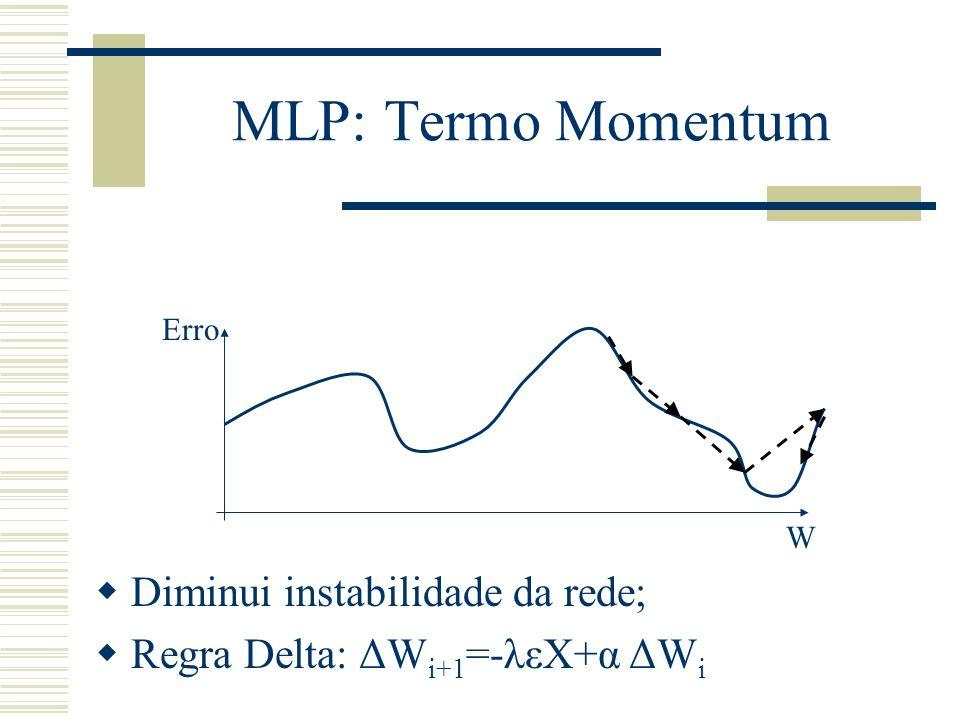 MLP: Termo Momentum Diminui instabilidade da rede;