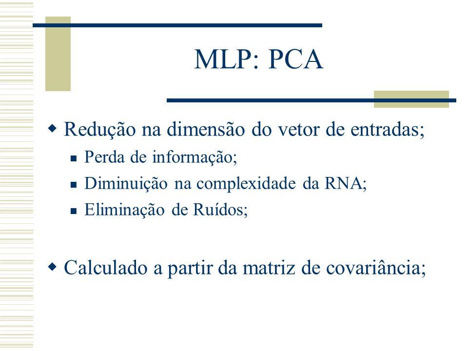 MLP: PCA Redução na dimensão do vetor de entradas;