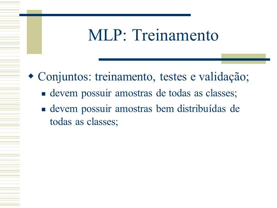 MLP: Treinamento Conjuntos: treinamento, testes e validação;