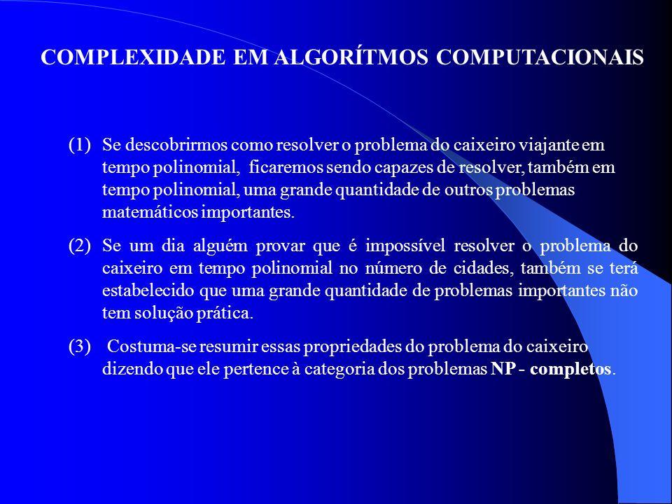 COMPLEXIDADE EM ALGORÍTMOS COMPUTACIONAIS