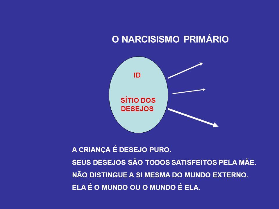 O NARCISISMO PRIMÁRIO ID SÍTIO DOS DESEJOS A CRIANÇA É DESEJO PURO.
