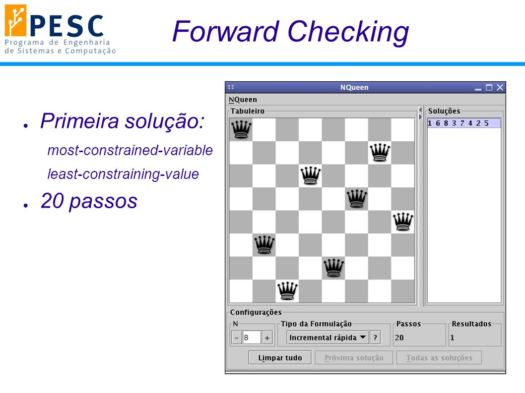 Forward Checking Primeira solução: 20 passos most-constrained-variable