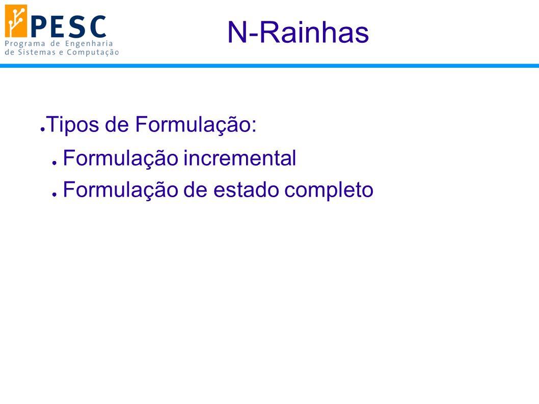 N-Rainhas Tipos de Formulação: Formulação incremental